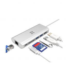 XtremeMac - Adaptateur multiport avec ports USB-C, USB-A, HDMI, Ethernet et lecteur de cartes